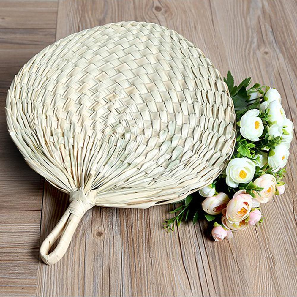 Chinese Style Handmade Fan Natural Hand Weaving Palm Leaf Fan Blades Portable Cooling Fan For Child And Adult