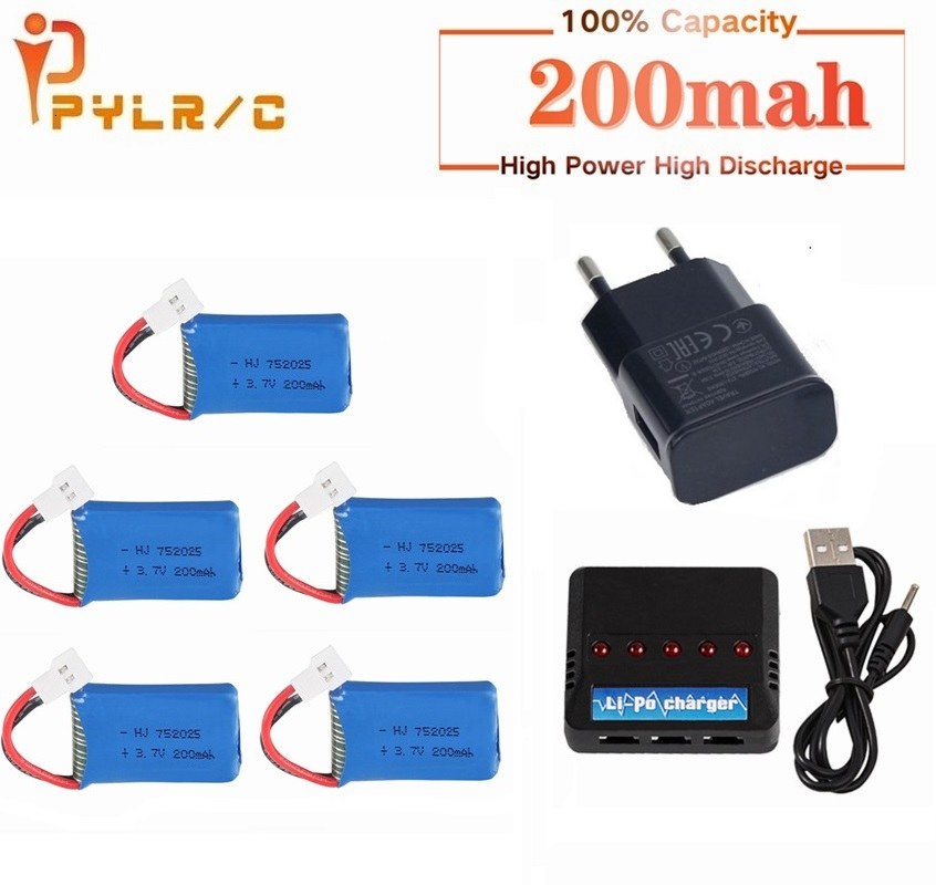 For Syma X4 X11 X13 RC Drones 3.7V 200mah LiPo Battery + 5 In1 Charger For Syma X4 X11 X13 RC Quadcopter Parts 752025