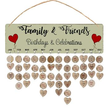 2021 New New Year Wooden Family Birthday Reminder Calendar Board Wall Hanging 2021 Decor 1