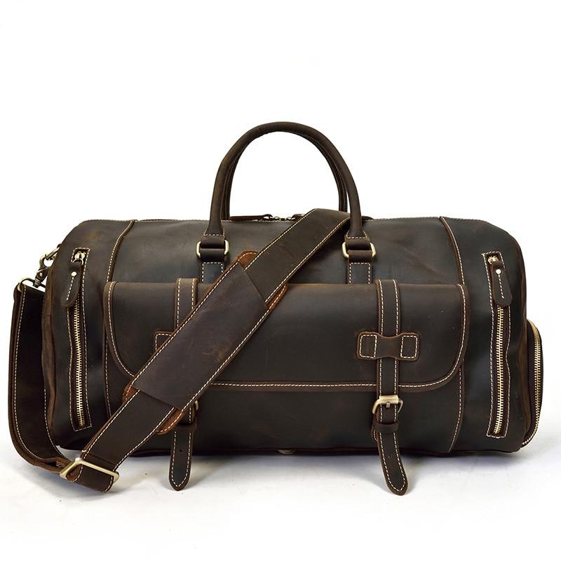 "Men Thick Leather Travel Bag With Shoe Pocket 20"" New Design Real Leather Weekend Bag Vintage Crazy Horse leather Messenger Bag"