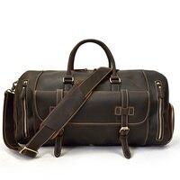 Men Thick Leather Travel Bag With Shoe Pocket 20 New Design Real Leather Weekend Bag Vintage Crazy Horse leather Messenger Bag