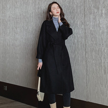 Women Coats Autumn Winter Wool Blends Long Overcoat Coat Loose Female Outerwear Woolen Warm Slim Belt Jacket Cashmere yuoomuoo new women wool coat autumn winter medium long female cashmere coat european style ladies warm casual grey woolen coats