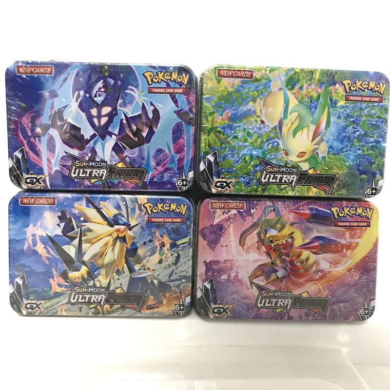 42Pcs/set Anime Pokemon Metal Box Cards SUN MOON Eevee TAKARA TOMY Battle Toys Collectibles Pikachu Bank Card Toy Kids Gifts