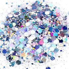 24 цвета голографический блеск микс Бестселлер 100 грамм, свободный блеск, массивный блеск, блестящий из полиэстера, HJJK5255