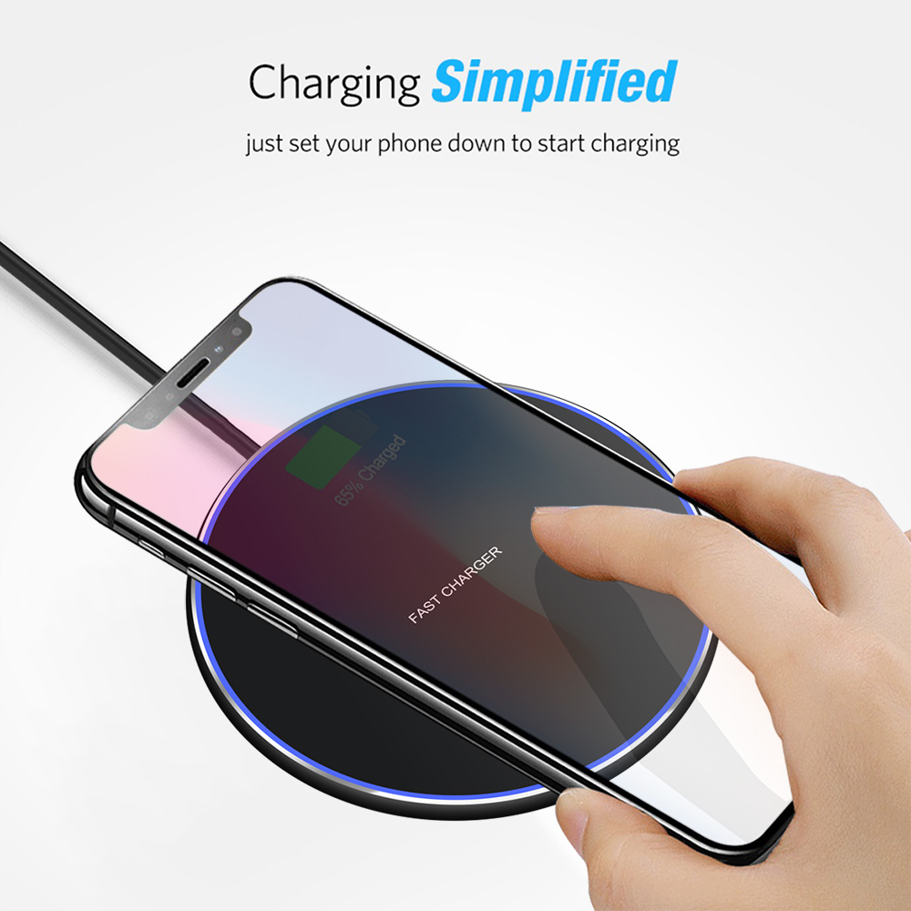 Image 3 - Baseuer 10W Wireless Charger LED Breathing Light Qi Fast Wireless Charging Pad For iPhone X XS 8 Samsung Huawei P30 Xiaomi-in Wireless Chargers from Cellphones & Telecommunications