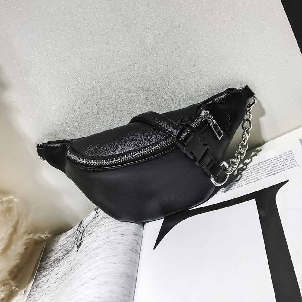 Leather Waist Bag Fanny Pack Women Small Simple Pocket Bag Versatile Shoulder Messenger Bags Black 2019 Heuptas Wandelen White