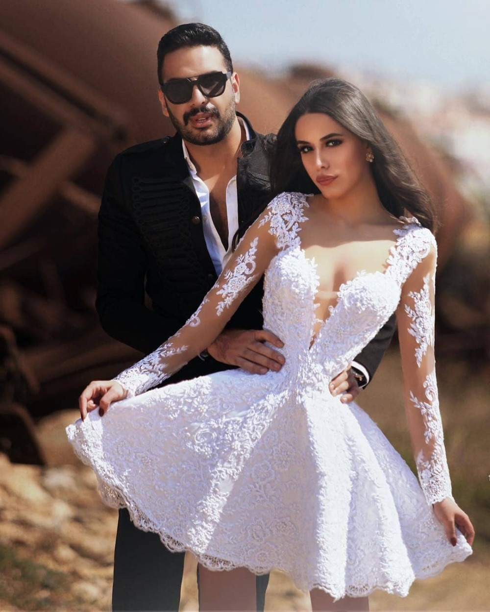 Unique White Short Wedding Dresses With Long Sleeves V Neck Unique Lace  Bridal Gowns Summer Cheap Women Bridal Gowns Wear Sexy