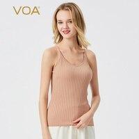 VOA Summer New Multi Colored Options Slim Fit Fashion inside Knitted Bold Stripes Sleeveless outside Strap Vest T shirt BG035