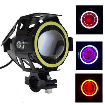 2 Pieces 125W Motorcycle Headlight Angel Devil Eye DRL Spotlight U7 LED Driving Lamp Fog Light Universal Switch 6 5inch universal retro motorcycle modification led headlight lamp with guard cover yellow driving light gn125 250