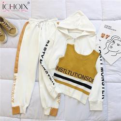ICHOIX-traje de otoño para mujer, abrigo holgado, pantalones bombachos, conjunto de tres piezas, Kit deportivo de 3 piezas, ropa de casa informal, 2020