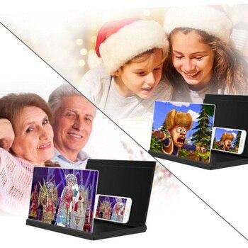 Soporte de teléfono inteligente soporte de soporte 12 pulgadas lupa de pantalla de teléfono lente de alta definición amplificador de vídeo