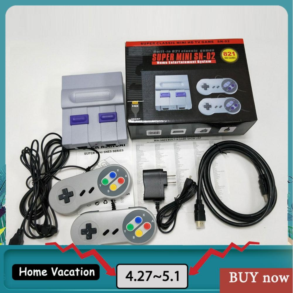 HDMI TV Video Game Console Handheld Retro Family Game Controller Built-In 821 Classic for SNES games Dual gamepad PAL&NTSC 2020