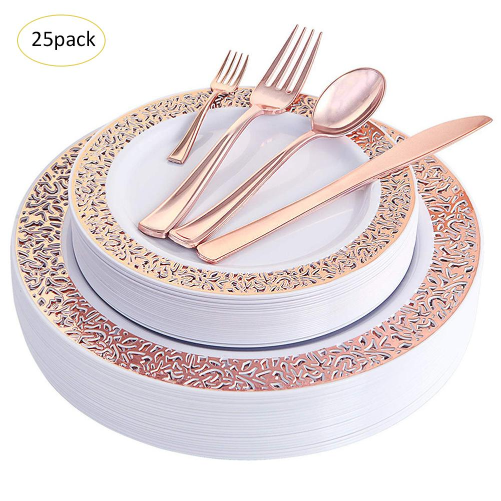 25set Party Disposable Tableware Cutlery Spoon Plate Birthday Party Decor Kids Baby Shower Weddings Party Supplies