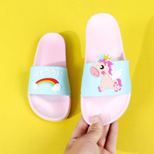 Unicorn Rainbow Slippers Summer PVC Cartoon Animal Shoes Boys Girls Kids Indoor Bathroom Non-slip Home Lovely Outdoor Flip Flops(China)