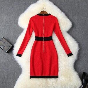 Image 2 - มินิเซ็กซี่ชุดดินสอ 2019 ใหม่ High Street Vintage เสื้อกันหนาวถักฤดูใบไม้ร่วงผู้หญิงแขนยาวผู้หญิงฤดูหนาวชุด