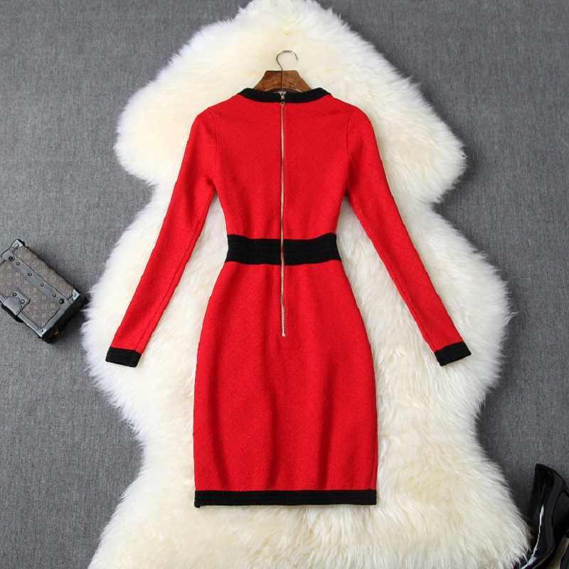 Мини сексуальное упругие тонкое платье с карманами 2019 Новый Хай-стрит Винтаж платья-свитера вязание осеннее пальто с длинными рукавами на Для женщин зимние вечерние платья