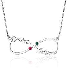 Серебряное ожерелье бесконечность 2 имя с камнями по месяцу рождения персонализированное именное ожерелье кулон женское ювелирное изделие подарок на день рождения