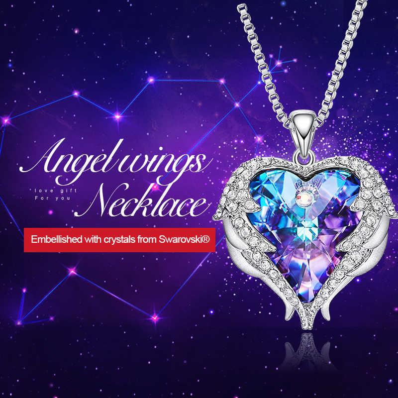 CDE Mode Engel Flügel Herz Form Anhänger Halskette mit Amethyst Kristall für Frauen Edlen Schmuck Valentinstag Geschenke