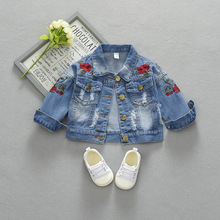 Baby Girls Denim Coats flower Embroidery Jeans Jackets For G