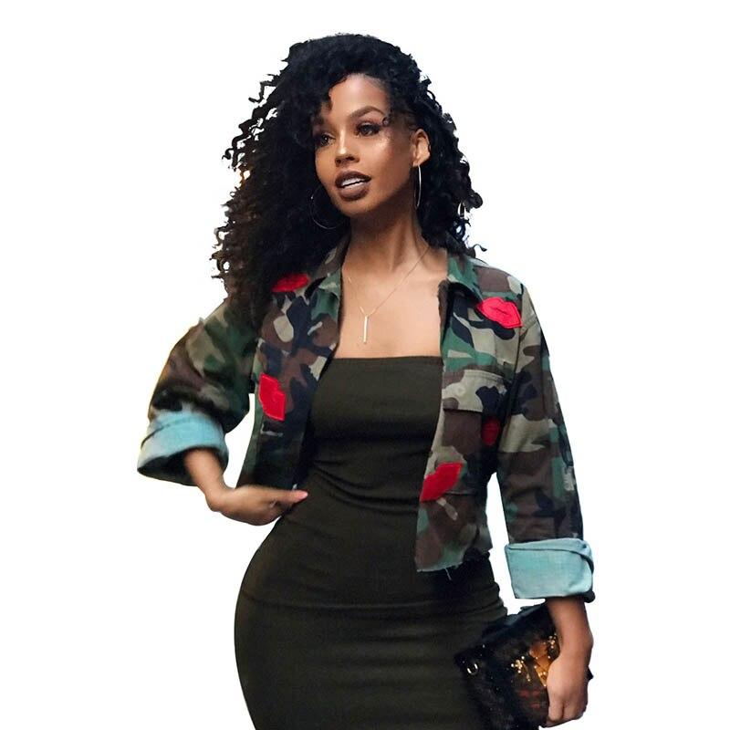 Basic     Jacket   Coat Women Camouflage Lip Women's   Jackets   2019 Single Breasted Streetwear Outwear Female Autumn   Jacket   for Woman