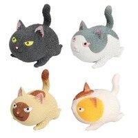 Bonito gato irritado squeeze elástico boneca squishy fidget brinquedo cura estresse antiestresse descompressão brinquedo para adultos crianças alívio do estresse