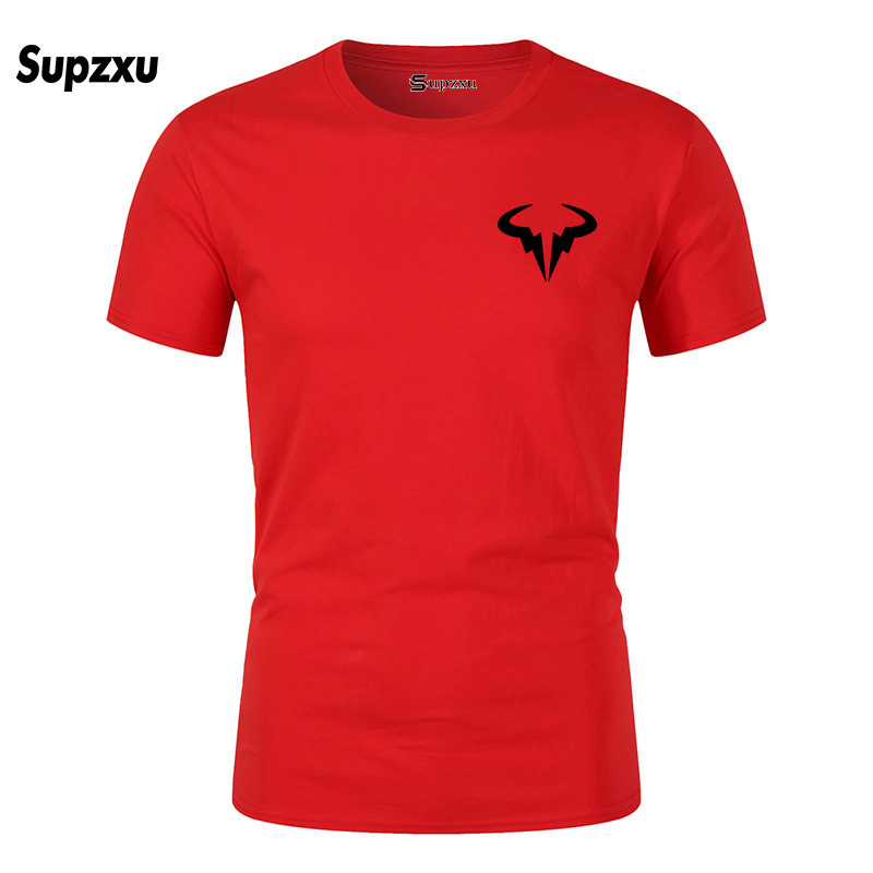 2019 Summer New Printed Cotton Casual Short Sleeve Big Yards   T     Shirt   Men Rafaels Nadal Natto Bull   T  -  shirt   Top Tees Plus Size