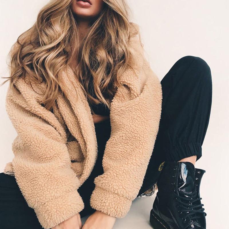 Fashion Zipper Plush Comfort Top Winter Outside Wear Plus Size Coat