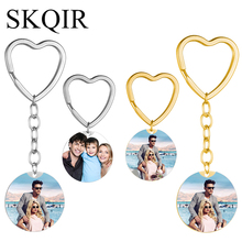 Personalized Round Lover Pet Photo Keychain Engraved Blank Text Letter Key Chain Custom Gift Hollow Heart Keyrings Femme Jewelry