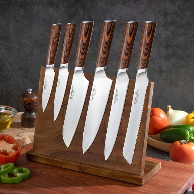 Cuchillo de cocina japonesa Set de cuchillos de Chef profesional Alemania 1,4116 de acero de alto carbono vegetal Santoku cuchillo de pan para cocinar 1