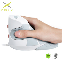 Delux M618BU White Wired Ergonomic Vertical Mouse 1600 DPI 6 Buttons Optical Right Hand Mice with Wrist mat For PC Lapt