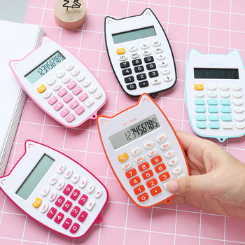 Mini Cat Handheld Calculator Office Electronics Calculators Battery 12-digit LED Display Calculating Teaching Aids Educational iphone style handheld 10 digit calculator