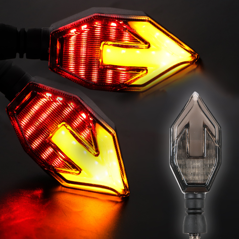 LEEPEE Motorcycle Side Light LED Signal Lamp Arrow Shape 12V Moto Accessories 2pcs Motorcycle Turn Signal Indicators