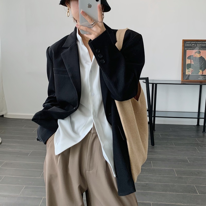 Autumn and winter women's jacket Casual retro solid color loose ladies mid-length Blazer 2020 new female suit high quality