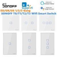 Sonoff T1 T2 T3 Werken Met Google Home Alexa Ons Smart Home Wifi Rf Afstandsbediening Muur Lichtschakelaar Panel muur Touch Light Switch