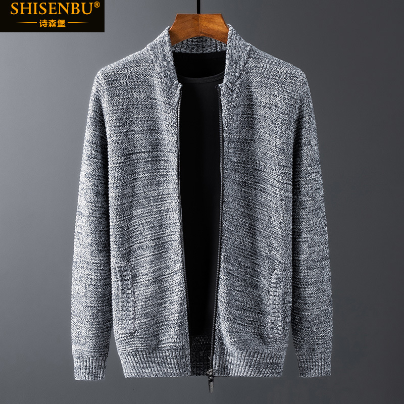 M-4XL 5XL 6XL 100% Cotton Brand Knitted Sweater Men Big Size Black Warm Zipper Cardigan Man Winter Korean Turtleneck Loose Coat