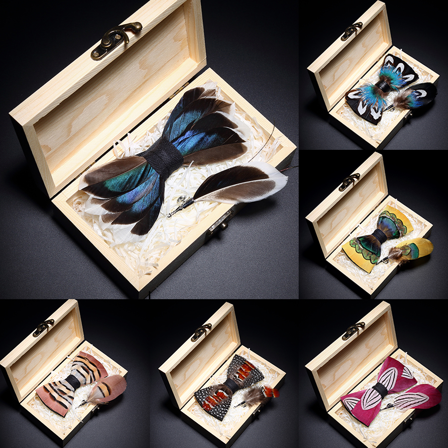 Ricnais Original Birds Feather Bow Tie Natural Hand Made Bowtie Brooch Wood Gift Box Set For Men Business Wedding Accessories