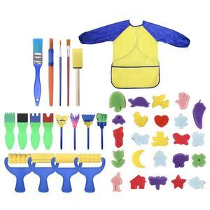 Juego de 42 Unidades de brocha de esponja para pintura DIY, rodillo de pintura, delantal, herramienta de manualidades para niños, divertida esponja creativa, Nylon reutilizable