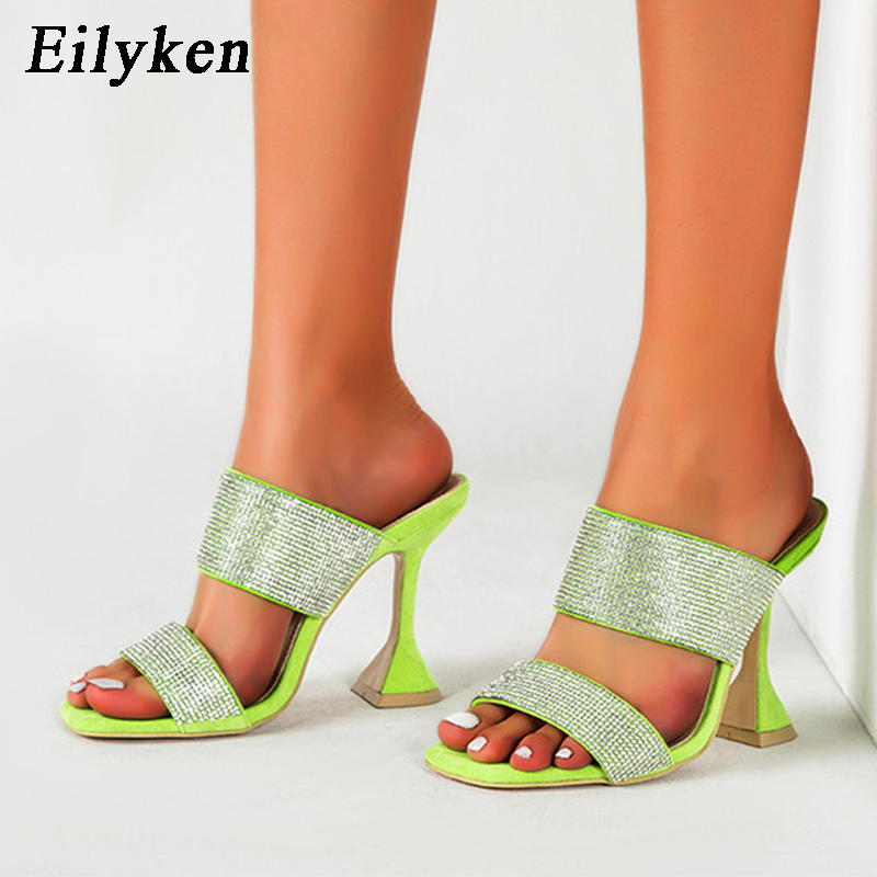 Eilyken New Design Square Toe Women Shoe Mules Fashion Glitter Rhinestone Slippers Strange High Heels Summer Slides Sandals