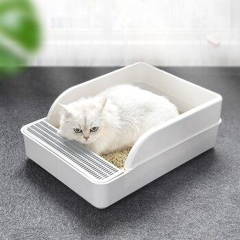 Caja de arena para gatos antisalpicaduras, desodorante semicerrado, bandeja de baño para perros mascota, bandeja de baño para gatos, caja de arena con pala