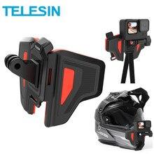 TELESIN 2 세대 오토바이 헬멧 마운트 스트랩, GoPro Hero 9 8 7 6 5 DJI Osmo Insta360 액션 액세서리 용 접이식