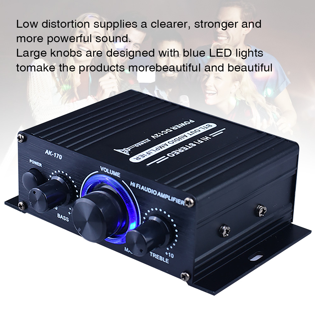 400W DC12V Sound System Power Amplifier Auto Bluetooth HiFi Music Receiver Stable Stereo Audio Car Home Aluminum Alloy FM Radio