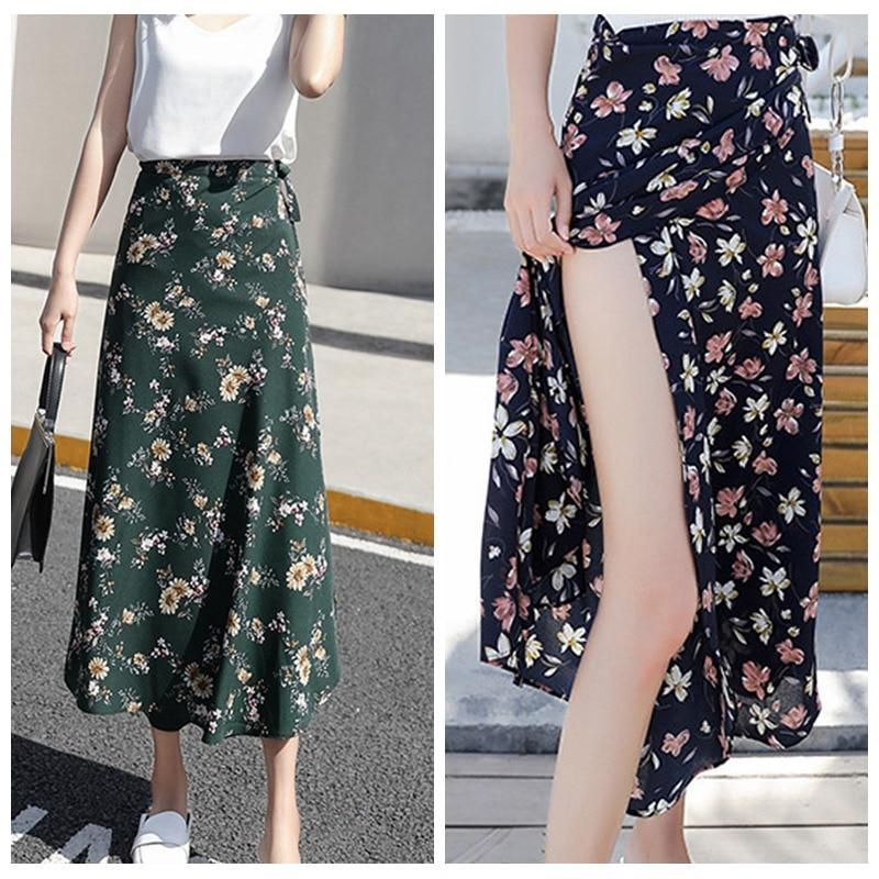 2019 Woman Boho Flower Long Skirt Summer Beach Sunny Ladies Casual Skirts Floral Chiffon Tutu Skirt