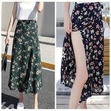 2019 Woman Boho Flower Long Skirt Summer Beach Sunny Ladies Casual Skir