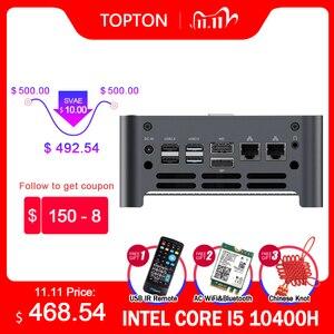 TOPTON New NUC Intel i9 10980HK i7 10750H Mini Computer 2 LAN Windows 10 2*DDR4 2*NVMe Gaming PC DP HDMI Type-C 4K AC WiFi