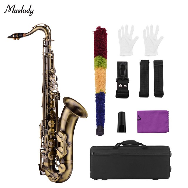 Muslady Antique Finish Bb Tenor Saxophone Sax Brass Body White Shell Keys Woodwind Instrument with Carry Case Sax Neck Straps