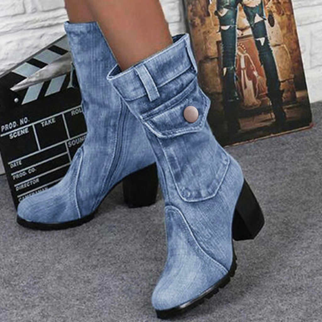 Women's Mid-rise Rome Solid Demin Shoes Boots Ladies Slip-On Chunky Med Heels Cowboy Boots Shoes Motorcycle Booties Large Size