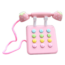 Girl Toys Phone Strawberry Simulation Pink Telephone Furniture Wooden Toys Child Educational Birthday Gift baby toys 16pcs large cartoon farm city character dress string rope wooden toys child educational beads toys birthday gift
