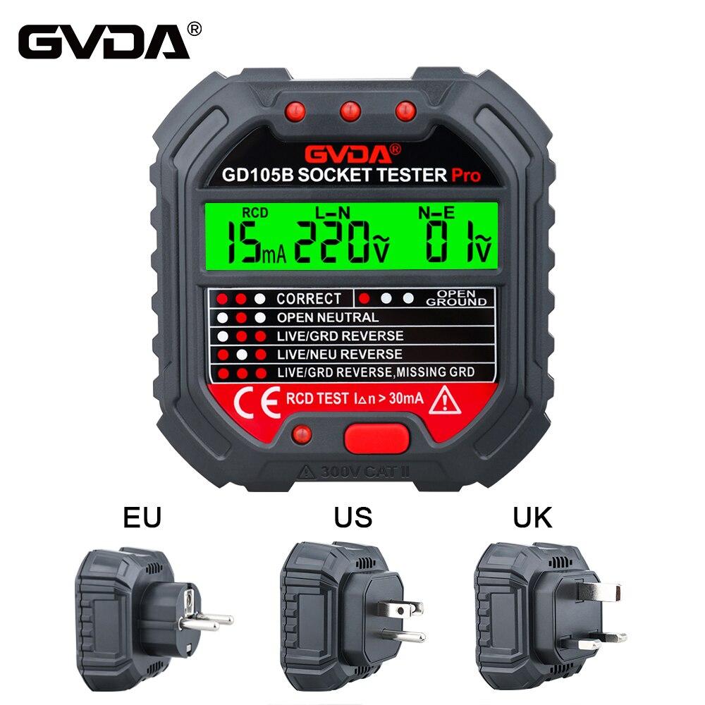 GVDA прибор для проверки патронов детектор напряжения в розетке выключатель искатели дорожный нулевой линии, США, Великобритании и Европы Ра...