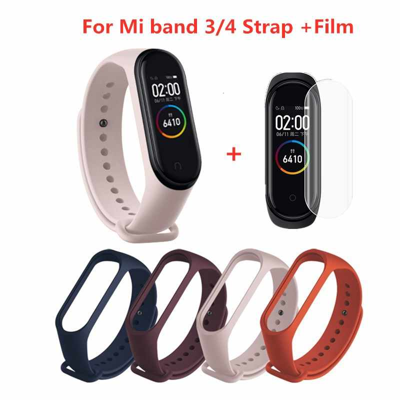 For Xiaomi Mi Band 4 3 Strap Pink Wine Red Color TPU Silicone Bracelet For Xiomi Miband 4 3 Band4 Band3 Wristband (Not Original)