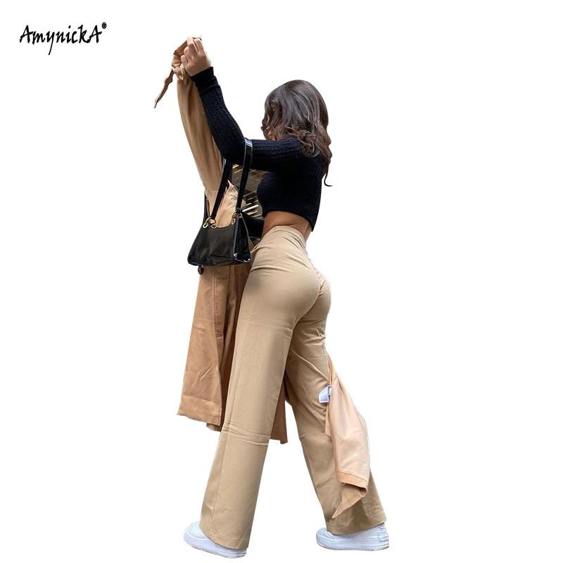 Брюки женские с завышенной талией, мешковатые свободные широкие брюки-Капри, повседневные брюки-Капри, черный/хаки, лето 2021